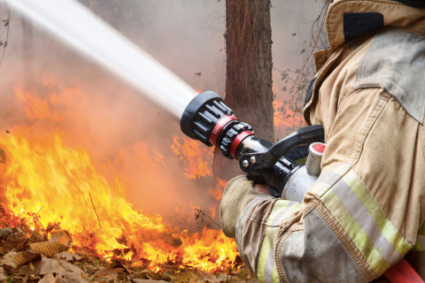 Firefighter spraying a hose on a bushfire